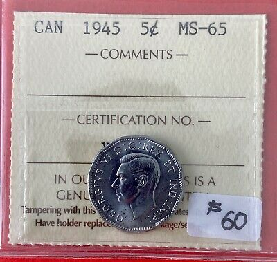 1945 Victory 5 Cent Five Canada Nickel Coin - ICCS MS-65