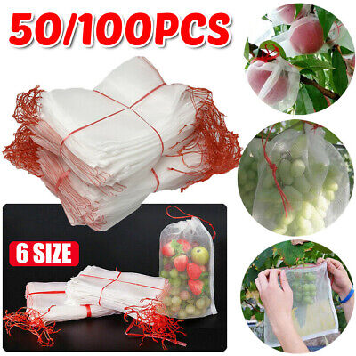 50pcs Agriculture Garden Fruit Vegetable Protection Exclusion Mesh Net Bags