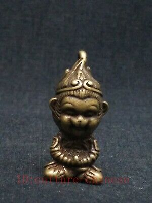 Collection Old China Copper Carving Sun Wukong Statue Unique Amulet Pendant Gift
