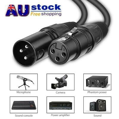 AU 2/6/8M Balanced Microphone Cable XLR Patch Lead Male to Female Extension Mic