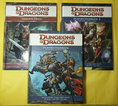 Dungeons & Dragons 3 Book Lot Players Handbook Dungeon Delve Guide RPG Tabletop
