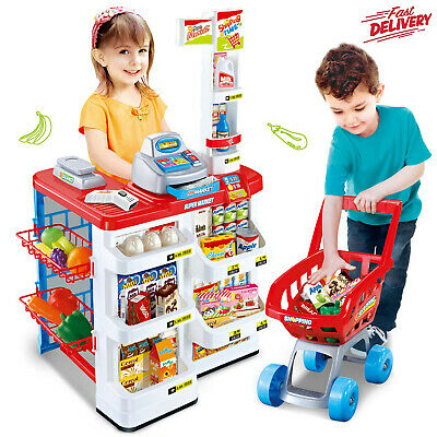 Childrens Pretend Role Play Big Supermarket Shop Toy Set Trolley & Food Play Set