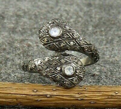 Pave Diamond 925 Sterling Silver Moonstone Anniversary Snake Ring US 3 to 15