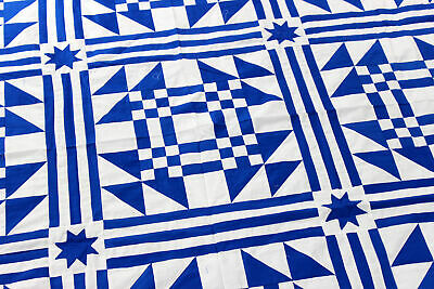 Traditional Royal Blue & White Young Man's Fancy - QUILT TOP