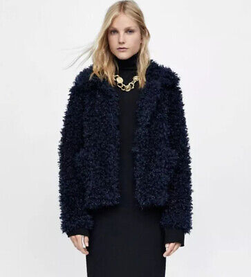 ZARA NAVY BLUE SOFT CURLY FAUX FUR JACKET SIZE XSmall