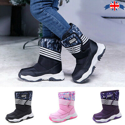 Girls Boys Warm Winter Ankle Boots Fur Lined Kids Snow Shoes High Top Non-Slip