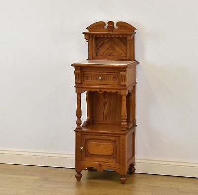 Superb Antique Pitch Pine & Marble French Cabinet Bedside Hall Side Cupboard