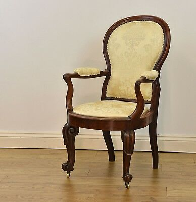 Antique Early Victorian Ladies Mahogany Upholstered Armchair