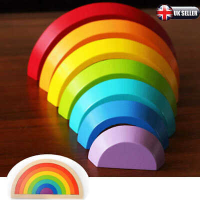 Baby Kids Rainbow Stacking Toy Children Puzzle Wooden Birthday Christmas Gifts