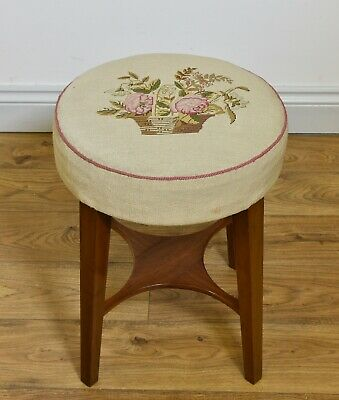 1920s MAHOGANY STOOL WITH NEEDLEWORK UPHOLSTERED TOP