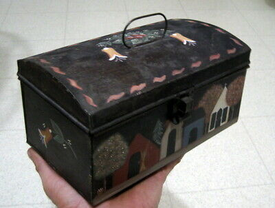 Primitive Antique Dome Shaped Tin Toleware Painted Decorated Document Box