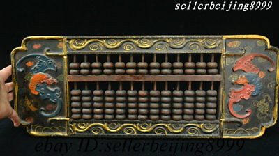 Old Chinese Dynasty Wood Lacquerware Bat Bird Eagle Counting Frame Abacus Statue