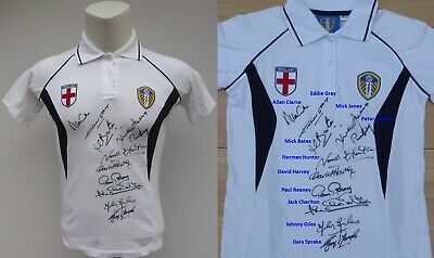 Official Leeds United Shirt Signed by 11 Revie Legends with COA & Map (16757)