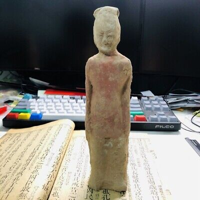 Ancient CHINESE ANTIQUE  TANG DYNASTY 618-907 RED POTTERY MONK STATUE