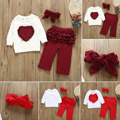 Toddler Baby Girls Outfits Tops T-shirt Pants Leggings Headband Kids Clothes Set