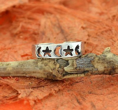 Sterling Silver .925 Moon and Stars Toe Ring adjustable size SolidMade In USA