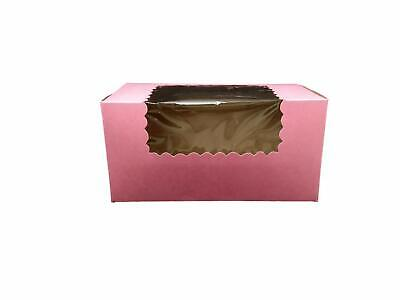 """MT Products 8"""" x 4"""" x 4"""" Pink Pastry / Bakery Box with Window - 15 Pieces"""