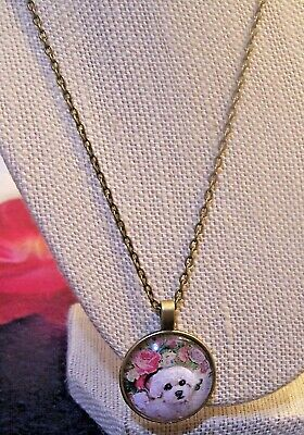 """hand painted Bichon Frise on pendant  and 18"""" metal chain"""