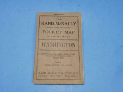 1913 Rand McNally Pocket Map And Shippers Guide Of Washington State Book Only