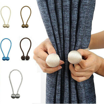 Curtain Tie Backs Magnetic Ball Buckle Holder Tieback Clips Home Window 1pair US