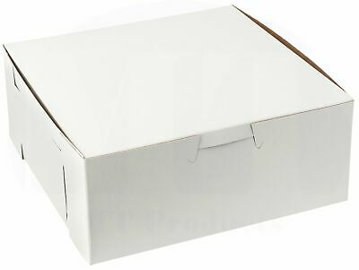 """MT Products 6"""" x 6"""" x 3"""" Clay Coated Paperboard White Bakery Box - 50 Pieces"""