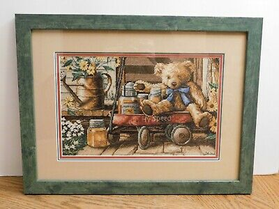 Framed Completed Cross Stitch Honey Bear in Wagon from 2002