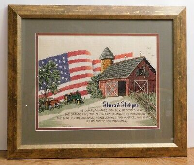 Framed Completed Cross Stitch Stars & Stripes Barn Americana from 2003