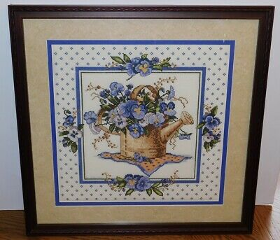 Framed Completed Cross Stitch Flowers in Watering Can from 2003