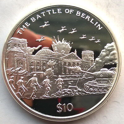 Sierra Leone 2005 Battle of Berlin 10 Dollars Silver Coin,Proof