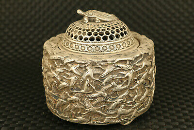 big chinese old tibet  silver crane buddha incense burner statue collectable