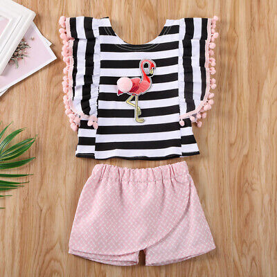 Kid Baby Girl Sleeveless Flamingo Stripe Tassel Tops+Shorts Pants Outfit Clothes