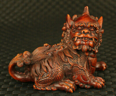 Chinese old Handcarved boxwood mighty Kylin statue valuable home decoration