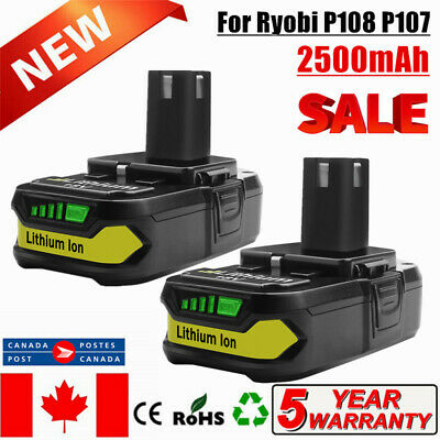 2×18V 2.5Ah lithium battery Replace For Ryobi P107 P108 P122 P102 P103 P104 P105