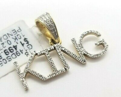 Real 10K Yellow Gold Genuine Natural Diamonds KING Name Plate Pendant Charm