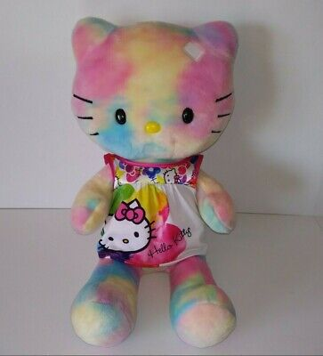 "Build-a-Bear HELLO KITTY 18"" Tie Dye, Pastel Stuffed Plush Toy w/ Pajamas Outfit"