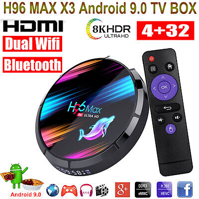 H96 MAX X3 8K 4+32G Android 9.0 TV BOX Dual WIFI BT H.265 64Bit USB3.0 3D Movies