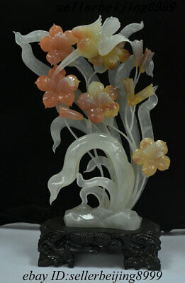 Collect Chinese Natural Afghanistan Jade Hand Stone Carving Flower Grass Statue