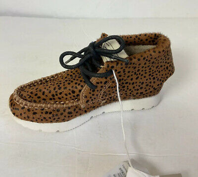 Zara Shoes Calf Hair Leopard Print Moccasin Booties Lace Up Toddler Girls 9-9.5