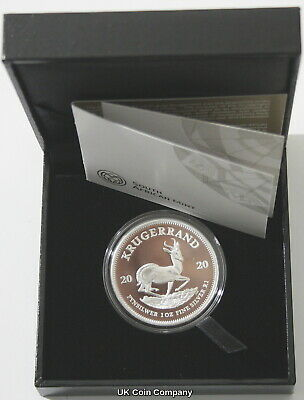 2020 South Africa Fine Silver Proof Krugerrand Coin Boxed Certificate New Issue