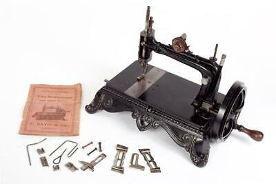 """Vintage ~ c1880 ~ """"S. Davis"""" """"The Beaumont"""" Sewing Machine with Instructions #82"""