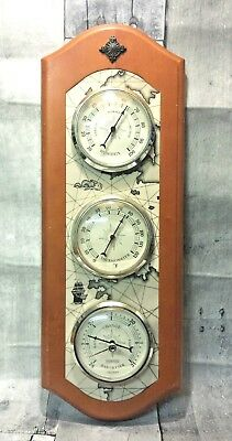 Springfield Weather Station Wood Thermometer Humidity  Barometer Gauges Map Ship