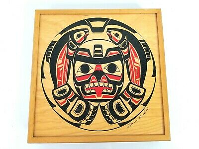 """Painted Wood Box Signed Clarence A. Wells Canadian Inuit Artist Haida Tribe 10"""""""