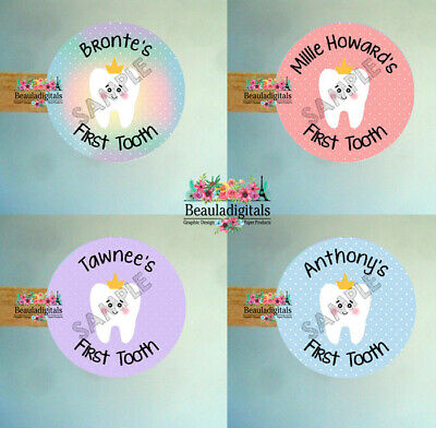 First Tooth Baby Personalised Stickers - First Tooth Labels - 15/24 per sheet