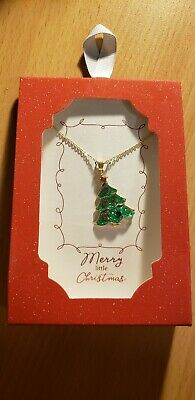 Christmas Tree Pendant With Necklace, Gold Tone, Glitter, Rhinestones, Winter