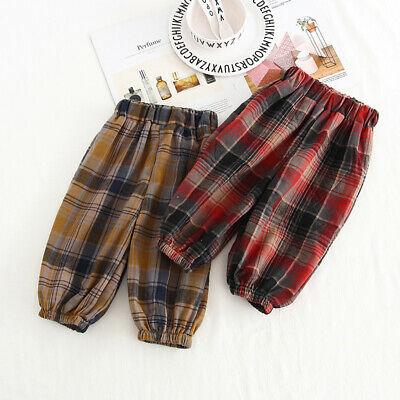 Baby Girls Boys Plaid Soft Loose Sports Pants Trousers Toddler Bottoms Casual