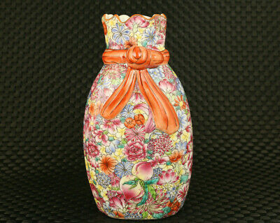 exquisite China old porcelain Handpainted colourful flower Statue vase pot gift