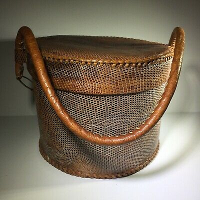 Brown Reptile Fine Textured Leather Unique Round Bag Attached Sliding Lid