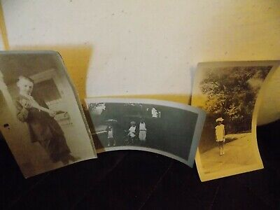 Creepy Children Vintage Photos LOT OF 3 Pictures Kids No Smile Halloween Scary