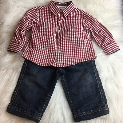 Jasper Conran Junior J Boys Size 6-9 Months Jeans Shirt  2pc Outfit Red Blue