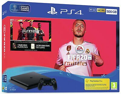 Sony Playstation PS4 500GB Console with FIFA 20 Bundle - Jet Black